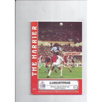 Kidderminster Harriers v Llansantffraid Welsh Cup Football Programme 1991/92