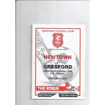 1988/89 Newtown v Gresford Welsh Cup Football Programme