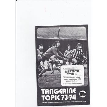 Newport County v Merthyr Tydfil Welsh Cup 1973/74