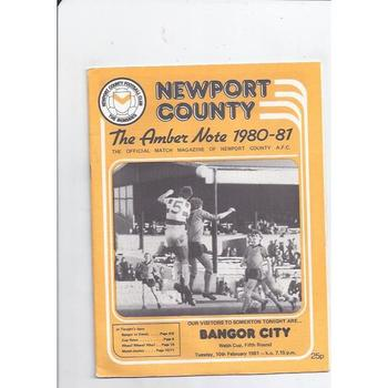 1980/81 Newport County v Bangor Welsh Cup Football Programme