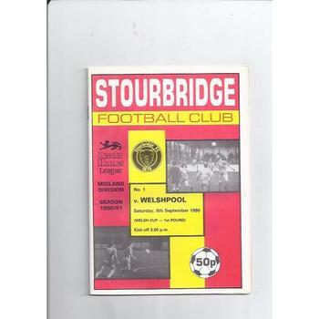 1990/91 Stourbridge v Welshpool Welsh Cup Football Programme