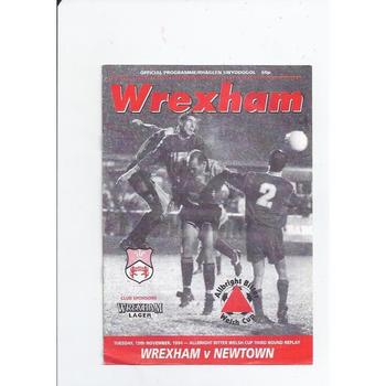 Wrexham v Newtown Welsh Cup Replay Football Programme 1994/95