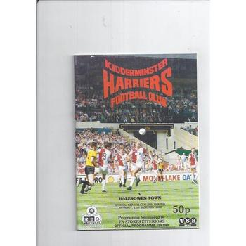 1987/88 Kidderminster Harriers v Halesowen Town Worcestershire Senior Cup Football Programme