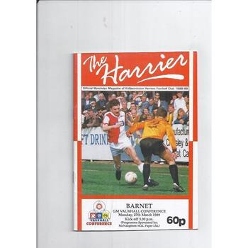 1988/89 Kidderminster Harriers v Barnet Football Programme