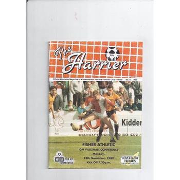 1989/90 Kidderminster Harriers v Fisher Athletic Football Programme