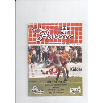 1989/90 Kidderminster Harriers v Merthyr Tydfil Football Programme