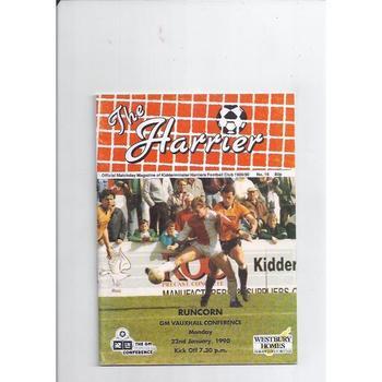 1989/90 Kidderminster Harriers v Runcorn Football Programme Jan