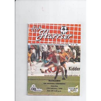 1989/90 Kidderminster Harriers v Runcorn Football Programme Feb