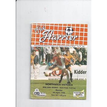1989/90 Kidderminster Harriers v Northwich Victoria Bob Lord Trophy Semi Final Football Programme