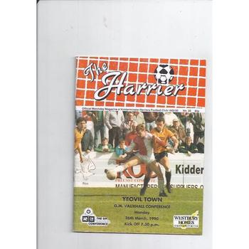 1989/90 Kidderminster Harriers v Yeovil Town Football Programme