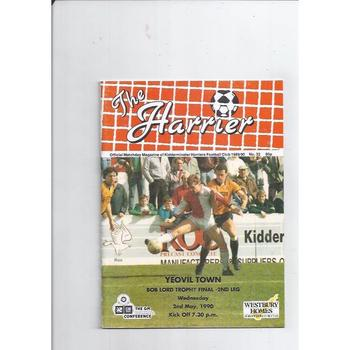 1989/90 Kidderminster Harriers v Yeovil Town Bob Lord Trophy Final Football Programme