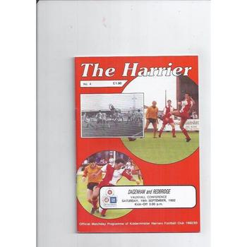 1992/93 Kidderminster Harriers v Dagenham & Redbridge Football Programme