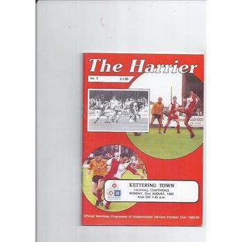 1992/93 Kidderminster Harriers v Kettering Town Football Programme