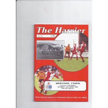 1992/93 Kidderminster Harriers v Merthyr Tydfil Football Programme