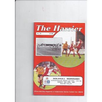 1992/93 Kidderminster Harriers v Solihull Borough Worcestershire Senior Cup Final Football Programme