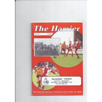 1992/93 Kidderminster Harriers v Slough Town Football Programme