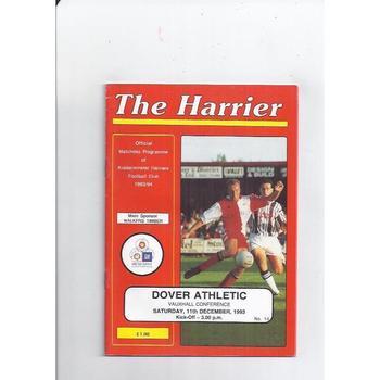 1993/94 Kidderminster Harriers v Dover Football Programme