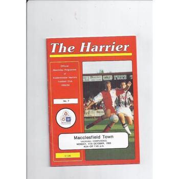 1993/94 Kidderminster Harriers v Macclesfield Town Football Programme