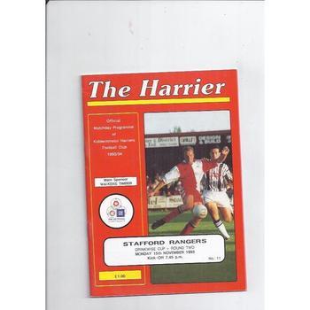 1993/94 Kidderminster Harriers v Stafford Rangers Drinkwise Cup Football Programme
