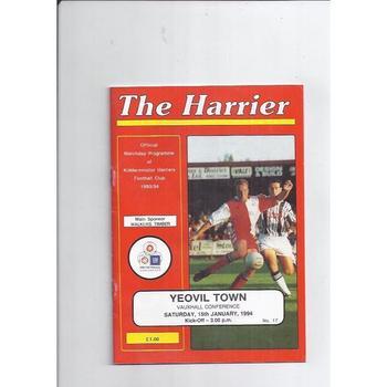 1993/94 Kidderminster Harriers v Yeovil Town Football Programme