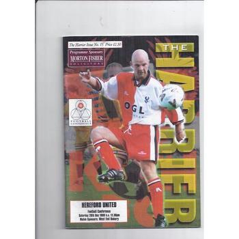 1998/99 Kidderminster Harriers v Hereford United Football Programme