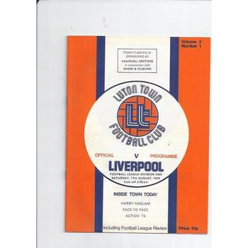 1974/75 Luton Town v Liverpool Football Programme