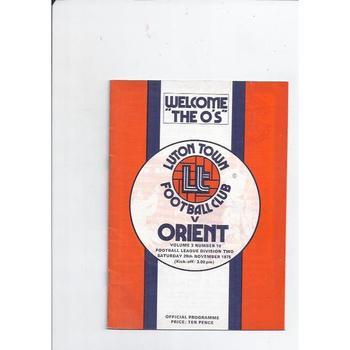 1975/76 Luton Town v Leyton Orient Football Programme