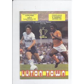 1984/85 Luton Town v Leyton Orient Milk Cup Football Programme