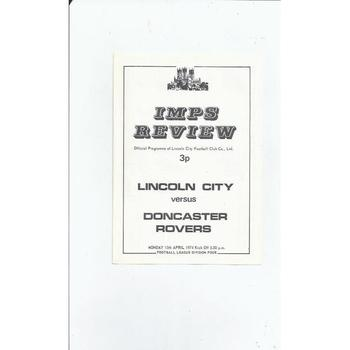 1973/74 Lincoln City v Doncaster Rovers Football Programme