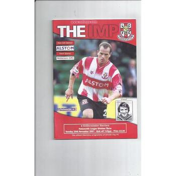 2001/02 Lincoln City v Kidderminster Harriers Football Programme