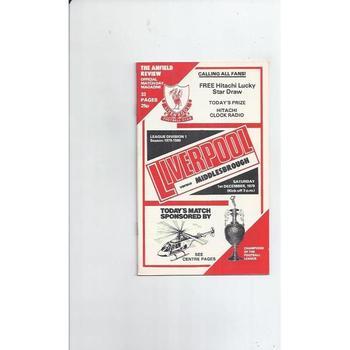 1979/80 Liverpool v Middlesbrough Football Programme