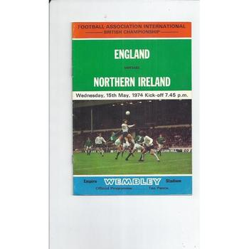 1974 England v Northern Ireland Football Programme