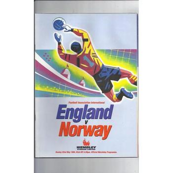 1994 England v Norway Football Programme + Team Sheet