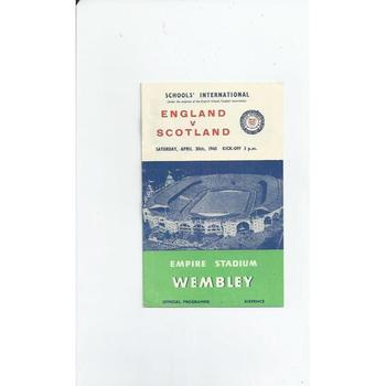 1960 England v Scotland Schools International Football Programme
