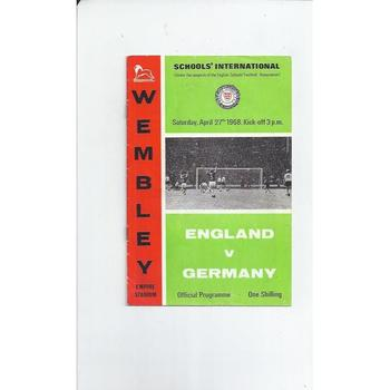 England v Germany Schools Football Programme 1968