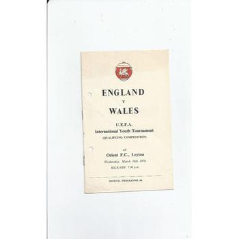 1970 England v Wales Youth International Football Programme