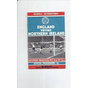 England v Northern Ireland Schools International Football Programme 1971