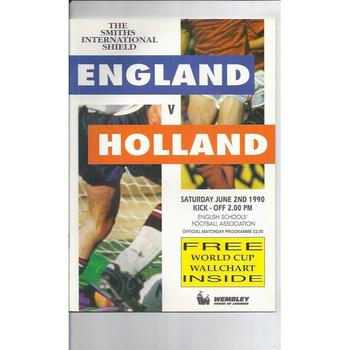 England v Holland Schools Football Programme 1990