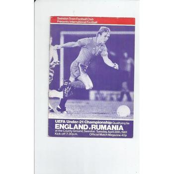 1981 England v Romania U21 International Football Programme @ Swindon Town