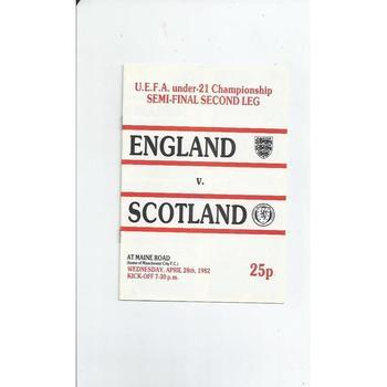 1982 England v Scotland U21 Euro Championship Semi Final Chelsea v Newcastle United Football Programme @ Manchester City