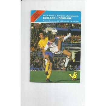 England v Denmark U21 International Football Programme 1983 at Norwich City