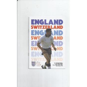 1991 England v Switzerland 'B' International Football Programme and Ticket at Walsall