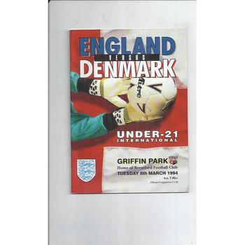 England v Denmark U21 International Football Programme 1994 at Brentford