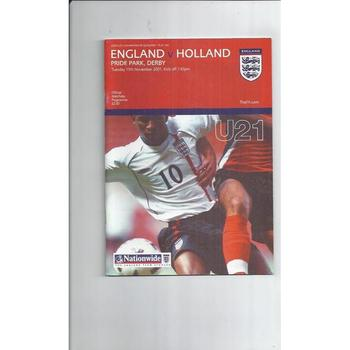 England v Holland U21 International Football Programme 2001 at Derby