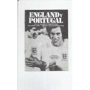1975 England v Portugal U23 Football Programme @ Crystal Palace