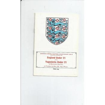 1978 England v Yugoslavia U21 International Football Programme @ Man City