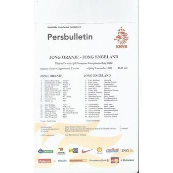 Holland v England European Championship U21 Team Sheet 2001