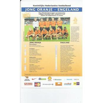 2001 Holland v England European Championship U21 Single Card Issue