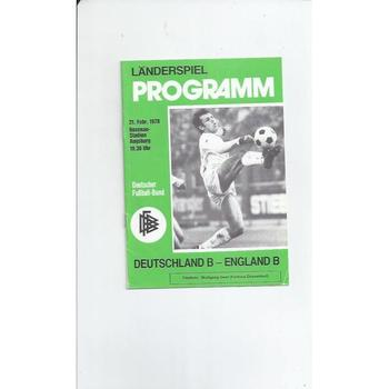 Germany B v England B Football programme 1978