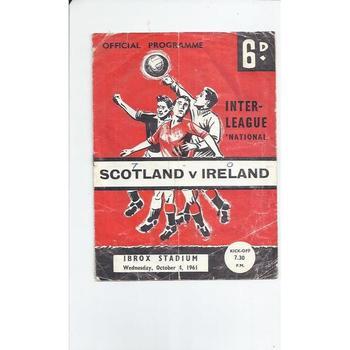 Scotland v Ireland Inter League International Football Programme 1961 @ Ibrox